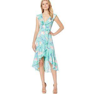 NWT Donna Morgan Surplice Floral Crepe Wrap Dress